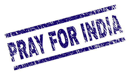 PRAY FOR INDIA seal print with scratced style. Blue vector rubber print of PRAY FOR INDIA title with corroded texture. Text label is placed between parallel lines. Banque d'images - 124605707