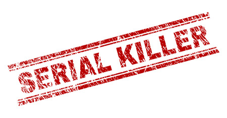 SERIAL KILLER seal print with corroded texture. Red vector rubber print of SERIAL KILLER tag with scratched texture. Text tag is placed between double parallel lines.