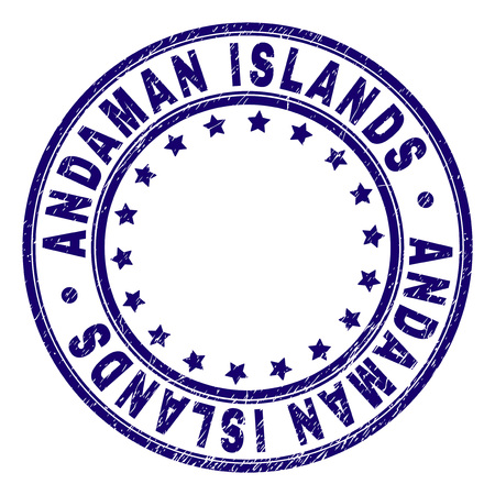 ANDAMAN ISLANDS stamp seal watermark with grunge texture. Designed with circles and stars. Blue vector rubber print of ANDAMAN ISLANDS label with corroded texture. Иллюстрация