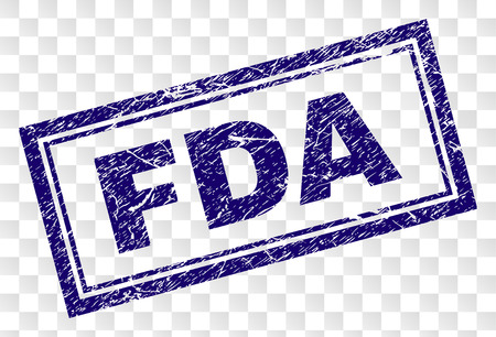 FDA stamp seal print with grainy style and double framed rectangle shape. Stamp is placed on a transparent background. Blue vector rubber print of FDA text with retro texture. Illustration