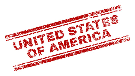 UNITED STATES OF AMERICA seal print with corroded effect. Red vector rubber print of UNITED STATES OF AMERICA text with corroded texture. Text label is placed between double parallel lines.
