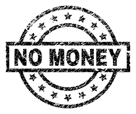 NO MONEY stamp seal watermark with distress style. Designed with rectangle, circles and stars. Black vector rubber print of NO MONEY caption with grunge texture.