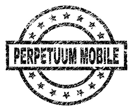 PERPETUUM MOBILE stamp seal watermark with distress style. Designed with rectangle, circles and stars. Black vector rubber print of PERPETUUM MOBILE title with scratched texture. Stock Illustratie
