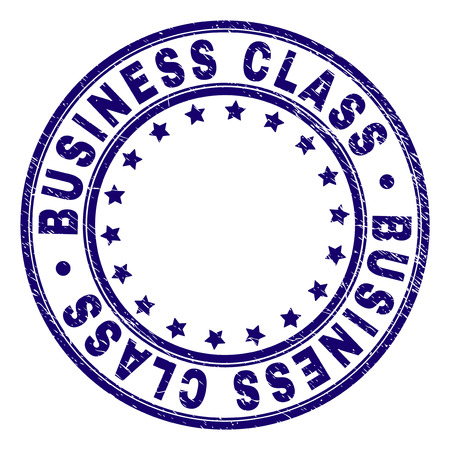 BUSINESS CLASS stamp seal watermark with distress texture. Designed with circles and stars. Blue vector rubber print of BUSINESS CLASS caption with dirty texture. Illusztráció
