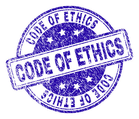 CODE OF ETHICS stamp seal watermark with grunge texture. Designed with rounded rectangles and circles. Blue vector rubber print of CODE OF ETHICS tag with grunge texture.