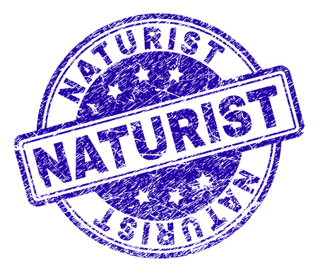 NATURIST stamp seal imprint with distress texture. Designed with rounded rectangles and circles. Blue vector rubber print of NATURIST title with dirty texture.