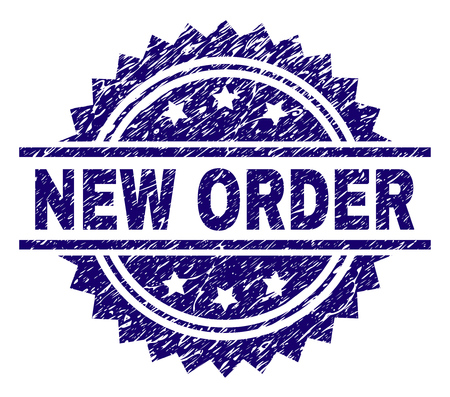 NEW ORDER stamp seal watermark with distress style. Blue vector rubber print of NEW ORDER caption with dust texture.