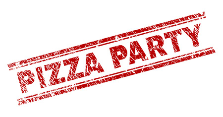 PIZZA PARTY seal print with distress texture. Red vector rubber print of PIZZA PARTY text with dirty texture. Text caption is placed between double parallel lines. Illustration