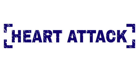 HEART ATTACK text seal print with grunge texture. Text tag is placed inside corners. Blue vector rubber print of HEART ATTACK with dirty texture. Illustration