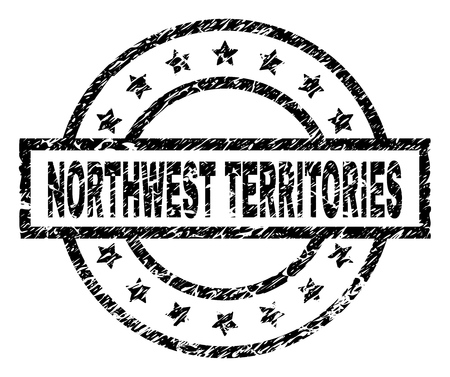 NORTHWEST TERRITORIES stamp seal watermark with distress style. Designed with rectangle, circles and stars. Black vector rubber print of NORTHWEST TERRITORIES label with dust texture.