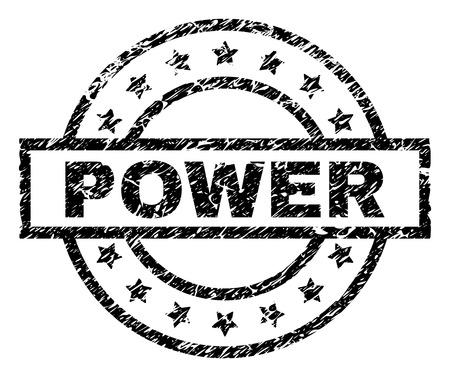 POWER stamp seal watermark with distress style. Designed with rectangle, circles and stars. Black vector rubber print of POWER tag with corroded texture.