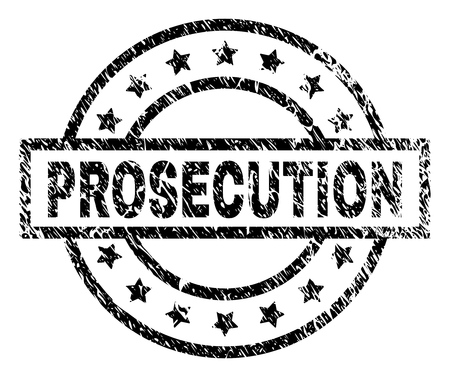 PROSECUTION stamp seal watermark with distress style. Designed with rectangle, circles and stars. Black vector rubber print of PROSECUTION tag with unclean texture. Illustration