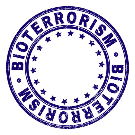 BIOTERRORISM stamp seal imprint with grunge texture. Designed with circles and stars. Blue vector rubber print of BIOTERRORISM title with grunge texture. Ilustrace