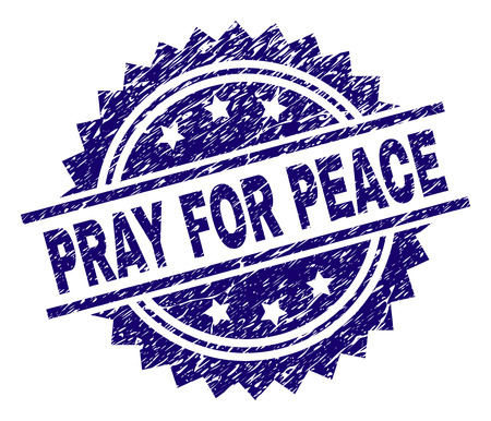 PRAY FOR PEACE stamp seal watermark with distress style. Blue vector rubber print of PRAY FOR PEACE title with unclean texture. Banque d'images - 124605823