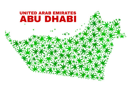 Vector cannabis Abu Dhabi Emirate map mosaic. Concept with green weed leaves for cannabis legalize campaign. Vector Abu Dhabi Emirate map is composed of weed leaves.