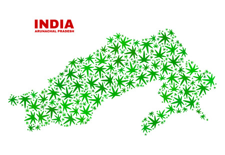 Vector marijuana Arunachal Pradesh State map collage. Concept with green weed leaves for marijuana legalize campaign. Vector Arunachal Pradesh State map is organized with herbal leaves. Illustration
