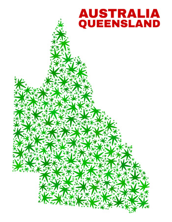 Vector cannabis Australian Queensland map collage. Concept with green weed leaves for cannabis legalize campaign. Vector Australian Queensland map is composed with weed leaves. Ilustração