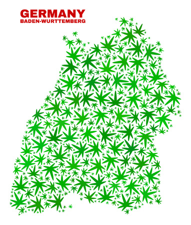 Vector cannabis Baden-Wurttemberg Land map mosaic. Concept with green weed leaves for cannabis legalize campaign. Vector Baden-Wurttemberg Land map is composed with cannabis leaves. Ilustrace