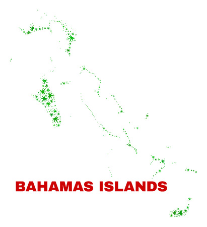 Vector marijuana Bahamas Islands map mosaic. Template with green weed leaves for weed legalize campaign. Vector Bahamas Islands map is constructed with weed leaves.