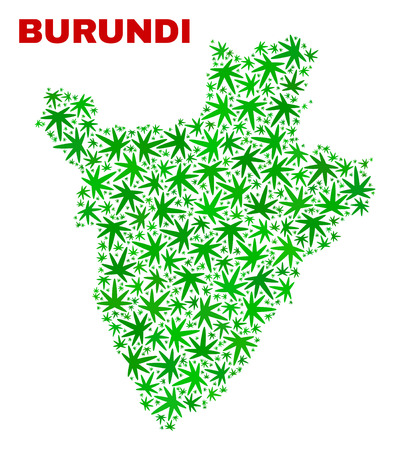 Vector marijuana Burundi map mosaic. Concept with green weed leaves for marijuana legalize campaign. Vector Burundi map is constructed with marijuana leaves.