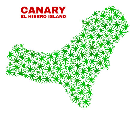 Vector marijuana El Hierro Island map mosaic. Concept with green weed leaves for weed legalize campaign. Vector El Hierro Island map is created with ganja leaves.