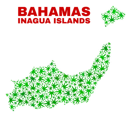 Vector marijuana Inagua Islands map collage. Template with green weed leaves for marijuana legalize campaign. Vector Inagua Islands map is constructed with weed leaves. Ilustrace