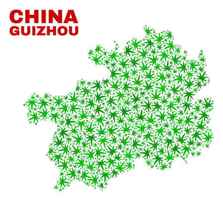 Vector marijuana Guizhou Province map collage. Template with green weed leaves for marijuana legalize campaign. Vector Guizhou Province map is designed with marijuana leaves.
