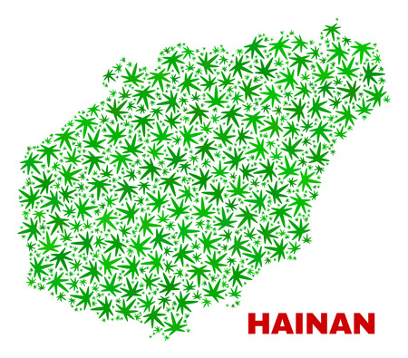 Vector marijuana Hainan map collage. Template with green weed leaves for marijuana legalize campaign. Vector Hainan map is constructed with marijuana leaves. Ilustrace