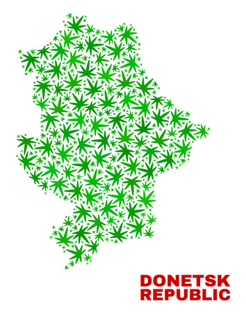 Vector marijuana Donetsk Republic map collage. Template with green weed leaves for marijuana legalize campaign. Vector Donetsk Republic map is created from weed leaves.