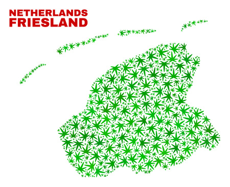 Vector marijuana Friesland Province map mosaic. Concept with green weed leaves for weed legalize campaign. Vector Friesland Province map is created with weed leaves.