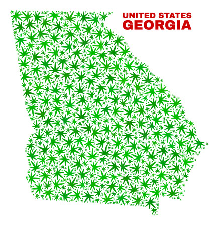 Vector marijuana Georgia State map mosaic. Concept with green weed leaves for cannabis legalize campaign. Vector Georgia State map is formed with cannabis leaves. Ilustrace