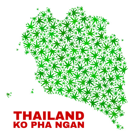 Vector marijuana Ko Pha Ngan map collage. Concept with green weed leaves for weed legalize campaign. Vector Ko Pha Ngan map is formed from marijuana leaves. Illustration