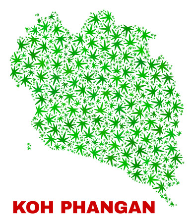 Vector cannabis Koh Phangan map mosaic. Concept with green weed leaves for weed legalize campaign. Vector Koh Phangan map is constructed of weed leaves.