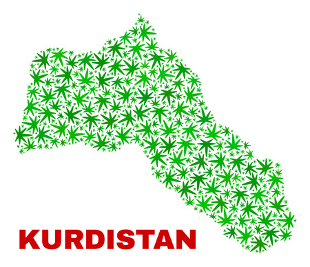 Vector marijuana Kurdistan map mosaic. Concept with green weed leaves for marijuana legalize campaign. Vector Kurdistan map is organized with marijuana leaves.