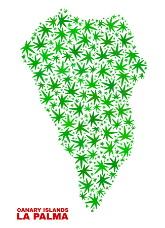 Vector cannabis La Palma Island map mosaic. Template with green weed leaves for weed legalize campaign. Vector La Palma Island map is constructed of cannabis leaves.