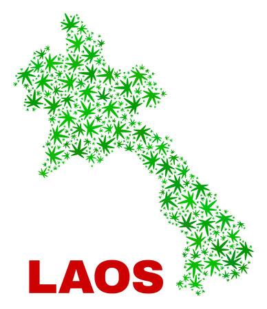 Vector cannabis Laos map collage. Concept with green weed leaves for weed legalize campaign. Vector Laos map is composed with cannabis leaves. 矢量图像