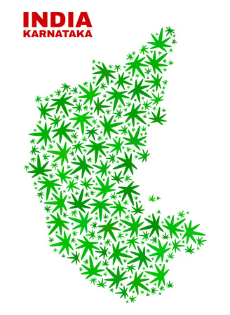 Vector cannabis Karnataka State map collage. Concept with green weed leaves for cannabis legalize campaign. Vector Karnataka State map is formed with cannabis leaves.