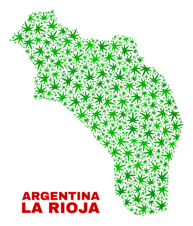 Vector marijuana La Rioja of Argentina map collage. Concept with green weed leaves for weed legalize campaign. Vector La Rioja of Argentina map is constructed with weed leaves. Ilustração