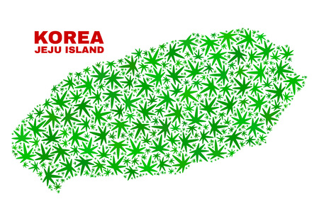 Vector marijuana Jeju Island map mosaic. Concept with green weed leaves for weed legalize campaign. Vector Jeju Island map is constructed with ganja leaves.