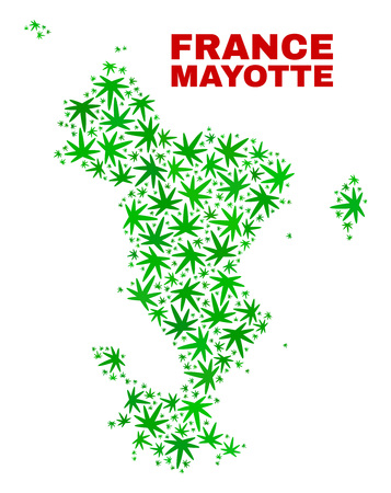 Vector cannabis Mayotte Islands map mosaic. Concept with green weed leaves for weed legalize campaign. Vector Mayotte Islands map is formed of weed leaves.