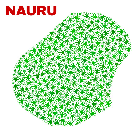 Vector cannabis Nauru map collage. Template with green weed leaves for cannabis legalize campaign. Vector Nauru map is organized with weed leaves.