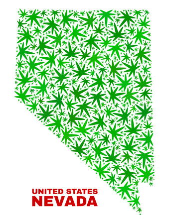 Vector marijuana Nevada State map mosaic. Concept with green weed leaves for marijuana legalize campaign. Vector Nevada State map is created with weed leaves.