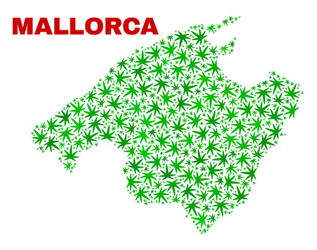 Vector cannabis Mallorca map mosaic. Template with green weed leaves for cannabis legalize campaign. Vector Mallorca map is constructed from cannabis leaves.