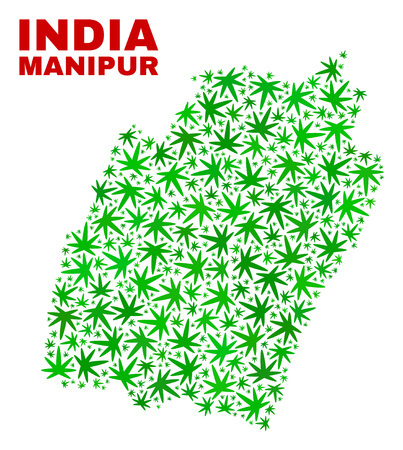 Vector cannabis Manipur State map mosaic. Template with green weed leaves for cannabis legalize campaign. Vector Manipur State map is composed of cannabis leaves. Ilustrace