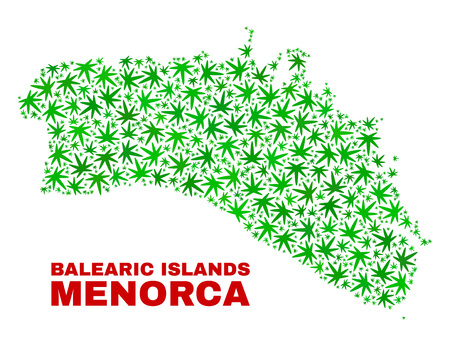 Vector marijuana Menorca Island map collage. Template with green weed leaves for weed legalize campaign. Vector Menorca Island map is organized with weed leaves.