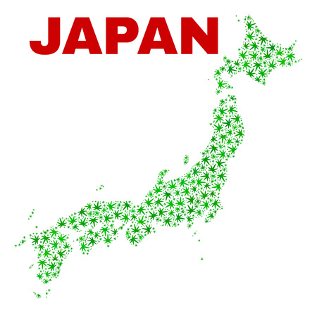 Vector marijuana Japan map collage. Concept with green weed leaves for marijuana legalize campaign. Vector Japan map is composed of weed leaves.