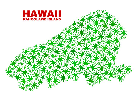 Vector cannabis Kahoolawe Island map mosaic. Template with green weed leaves for cannabis legalize campaign. Vector Kahoolawe Island map is designed with cannabis leaves.
