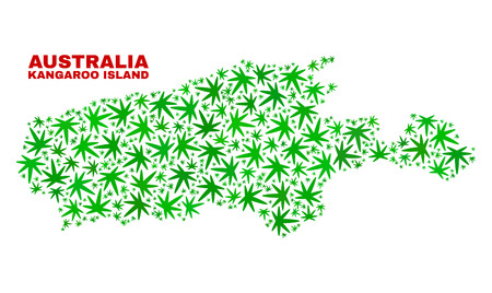 Vector marijuana Kangaroo Island map collage. Template with green weed leaves for weed legalize campaign. Vector Kangaroo Island map is formed with weed leaves.