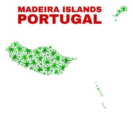 Vector cannabis Madeira Islands map mosaic. Template with green weed leaves for weed legalize campaign. Vector Madeira Islands map is composed with herbal leaves.