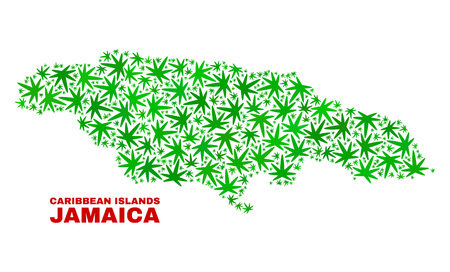Vector marijuana Jamaica map collage. Concept with green weed leaves for weed legalize campaign. Vector Jamaica map is composed of weed leaves. Illustration